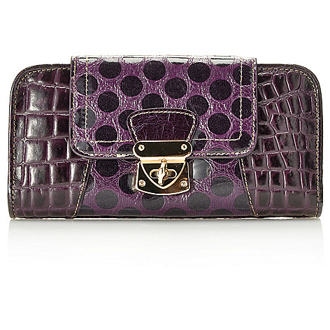 714-201 - Madi Claire Croco Embossed & Polka Dot Design Flap Over Turn Lock Wallet