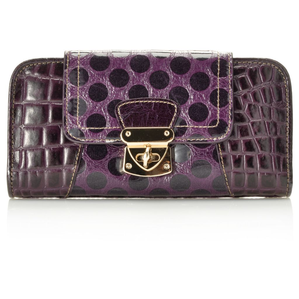 714-201 - Madi Claire Croco Embossed & Polka Dot Design Flap-Over Turn Lock Wallet