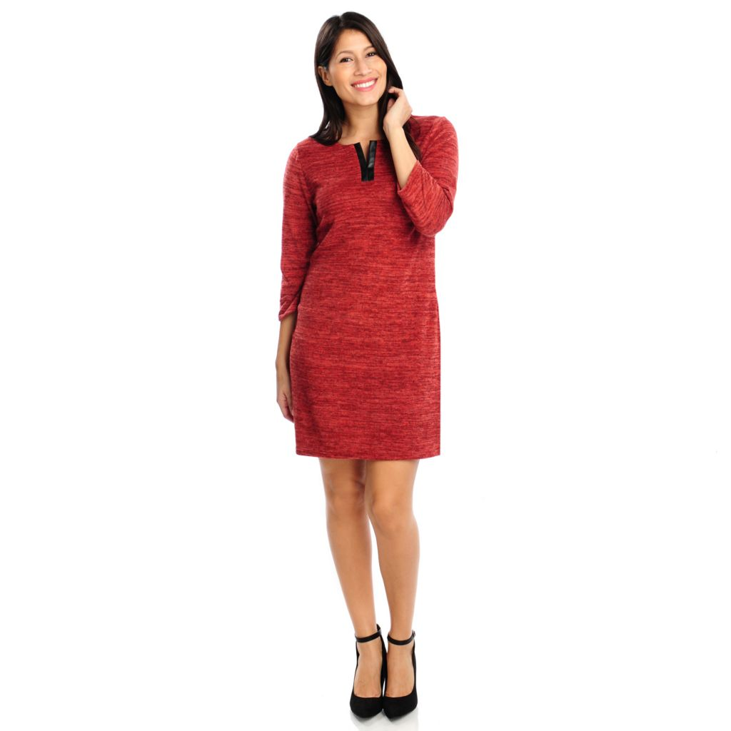 714-205 - aDRESSing WOMAN Stretch Knit 3/4 Sleeved Faux Leather Trimmed Dress