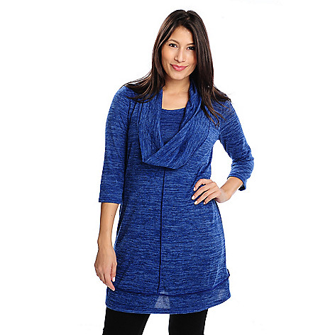 714-207 - aDRESSing WOMAN Sweater Knit 3/4 Sleeved Cowl Neck Tunic