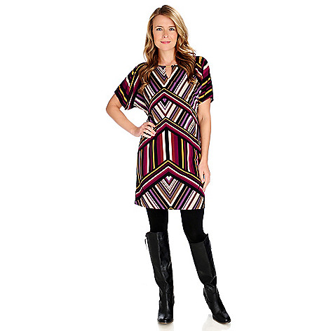714-208 - aDRESSing WOMAN Stretch Knit Dolman Sleeved Dress & Leggings Set