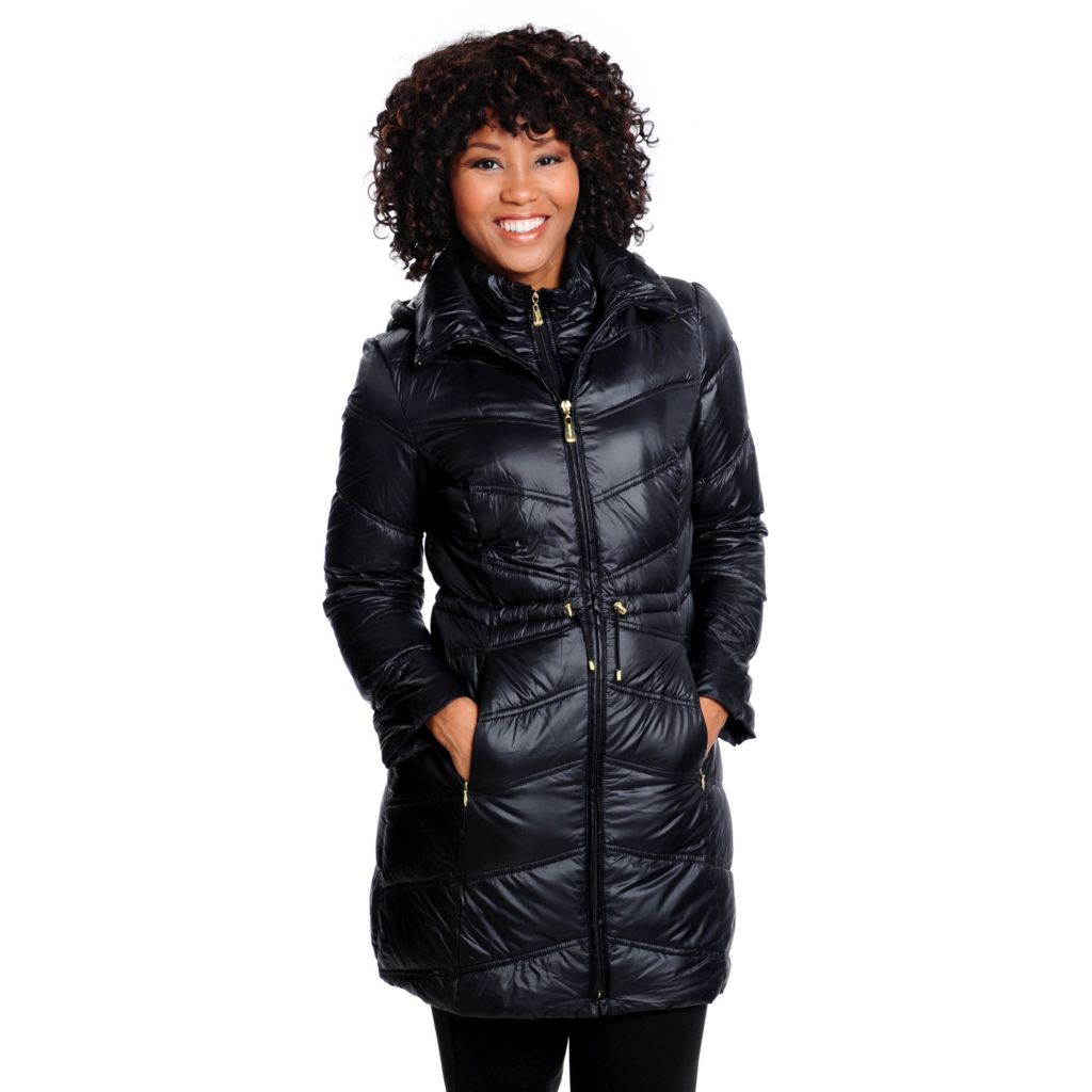 714-209 - Ellen Tracy Down Puffer Long Sleeved Anorak Waist Packable Long Coat