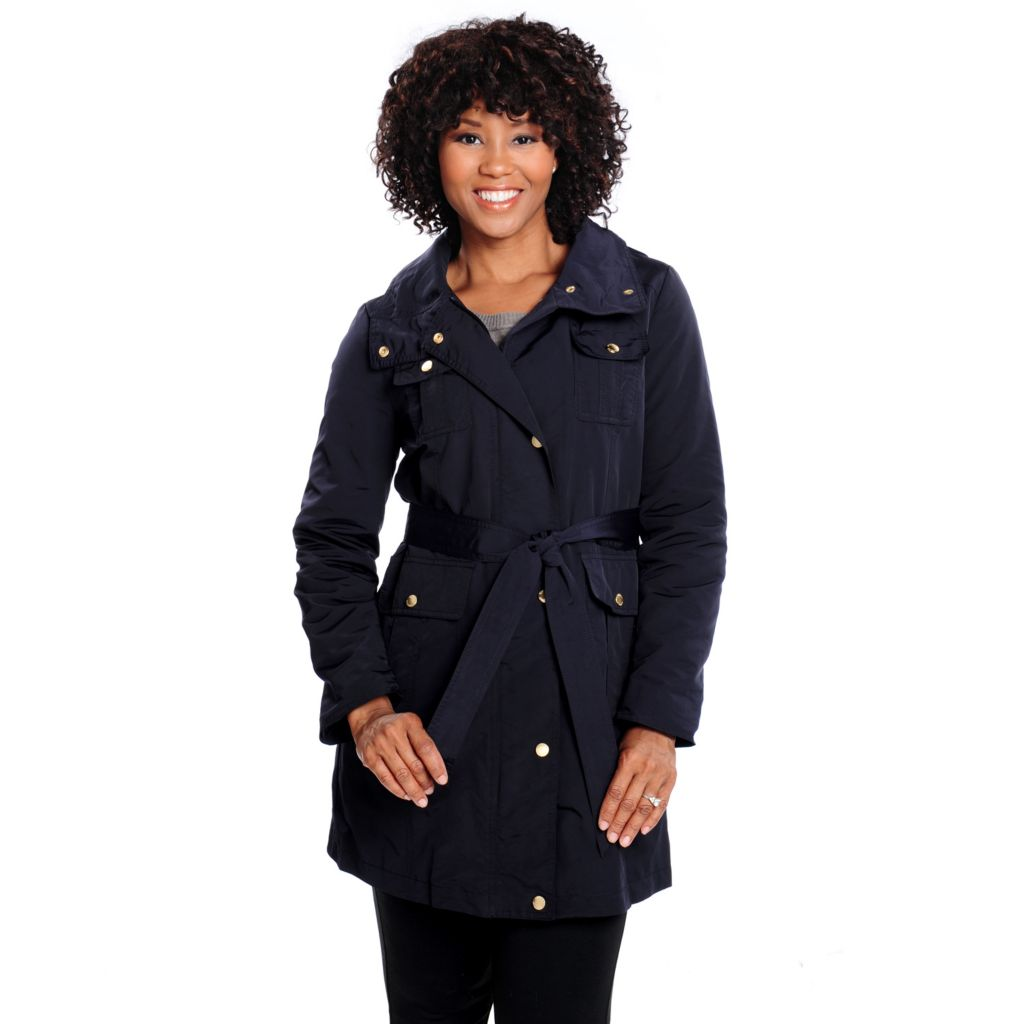 714-210 - Ellen Tracy Techno Woven Long Sleeved Removable Belt Trench Coat