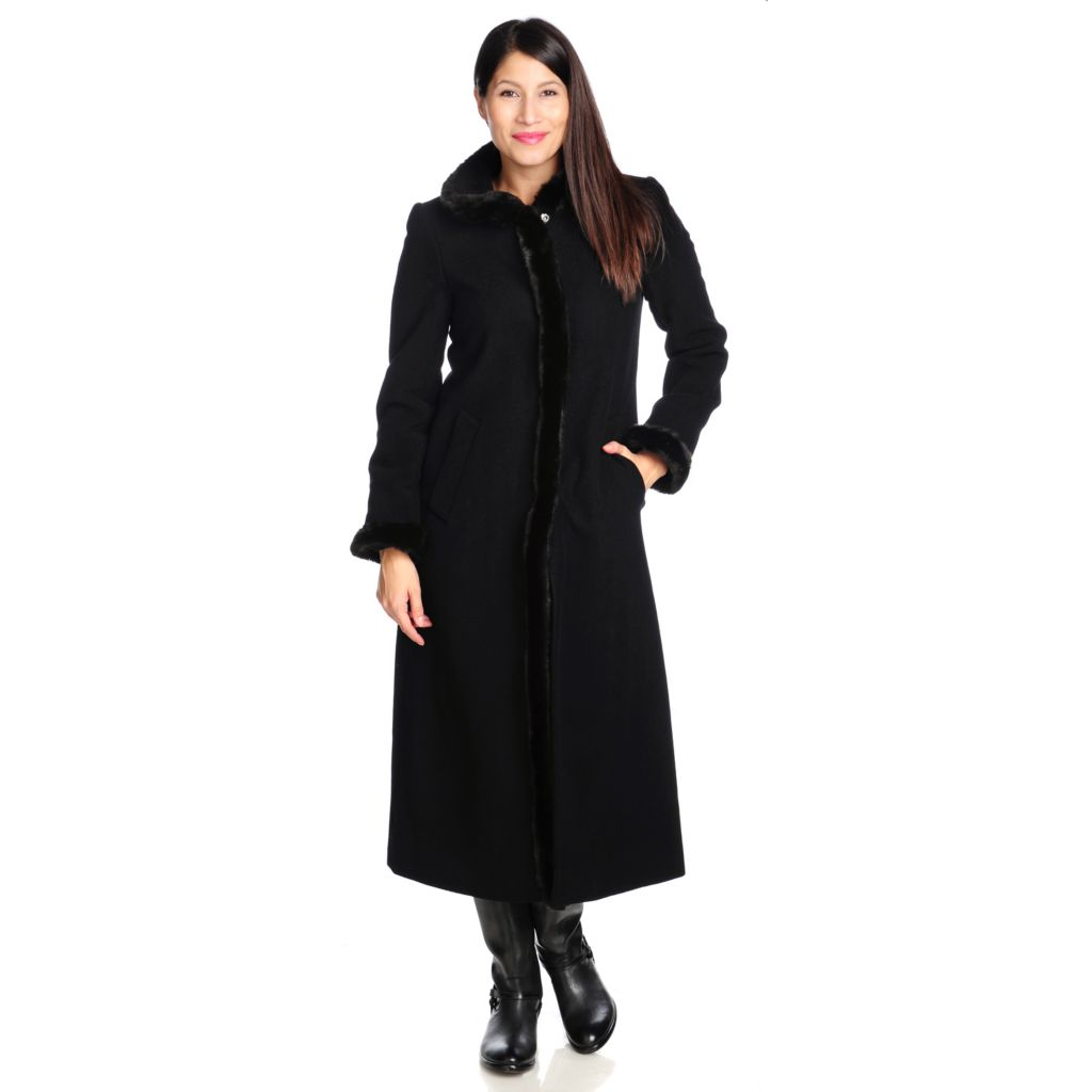 714-212 - Ellen Tracy Felted Wool Long Sleeved Faux Fur Trimmed Maxi Coat