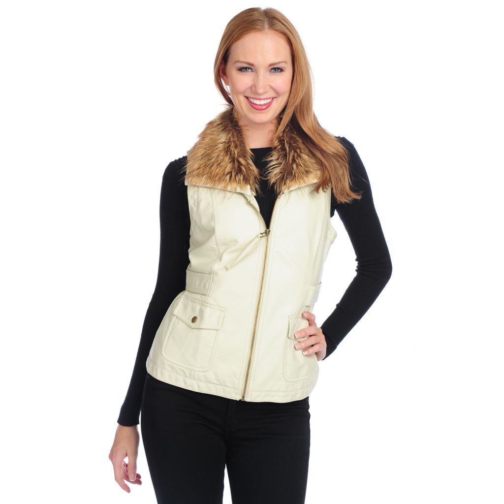 714-216 - OSO Casuals Faux Leather Detachable Faux Fur Collar Zip Front Vest