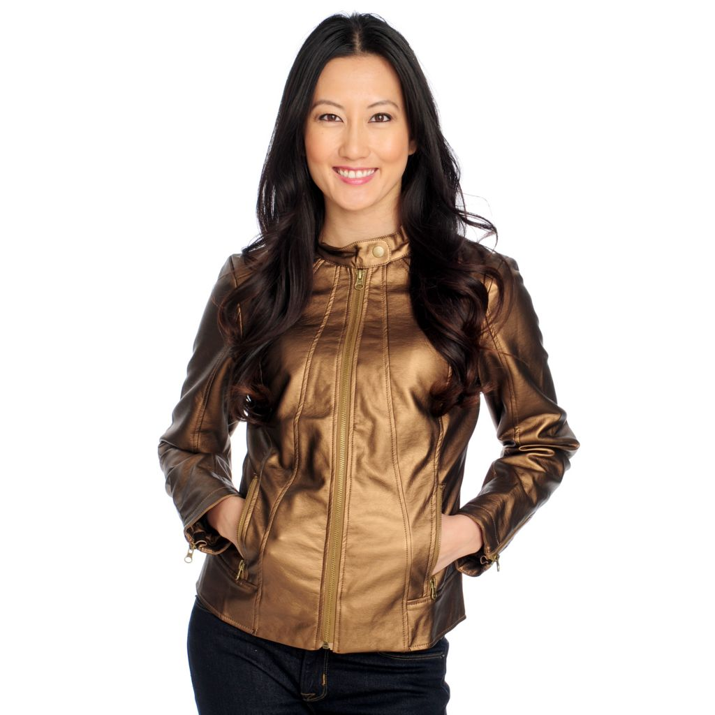 714-218 - Glitterscape Faux Leather Long Sleeved Stand Collar Metallic Jacket
