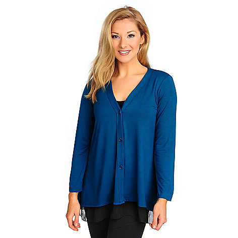714-221 - Kate & Mallory Stretch Knit Long Sleeved Chiffon Trim Three-Button Cardigan