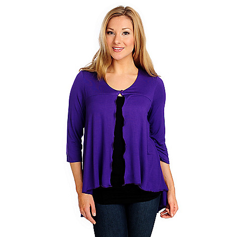 714-226 - Kate & Mallory Stretch Knit 3/4 Sleeved One-Button Hi-Lo Cardigan