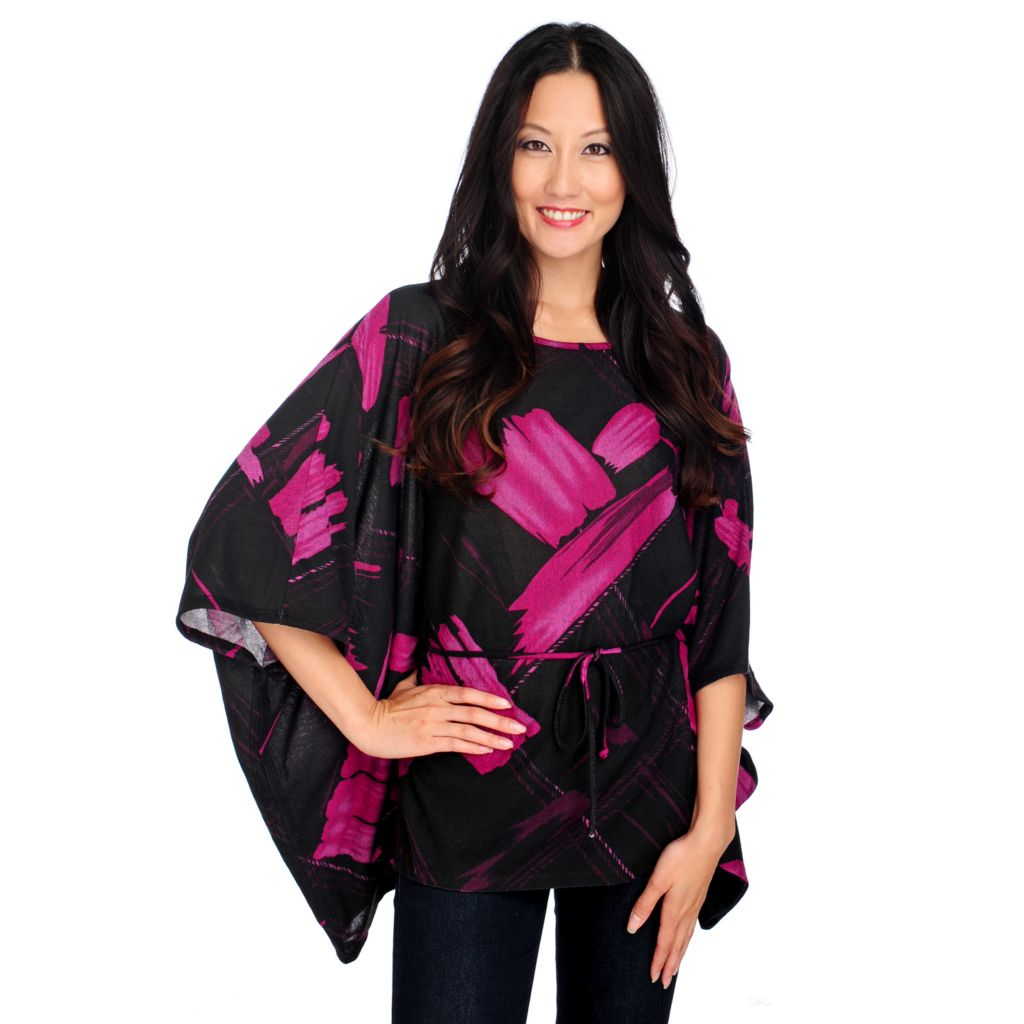 714-228 - Kate & Mallory Sweater Knit Caftan Sleeved Tie Waist Poncho Top