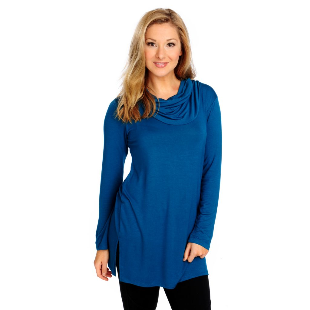 714-231 - Kate & Mallory Stretch Knit Long Sleeved Cowl Neck Tunic