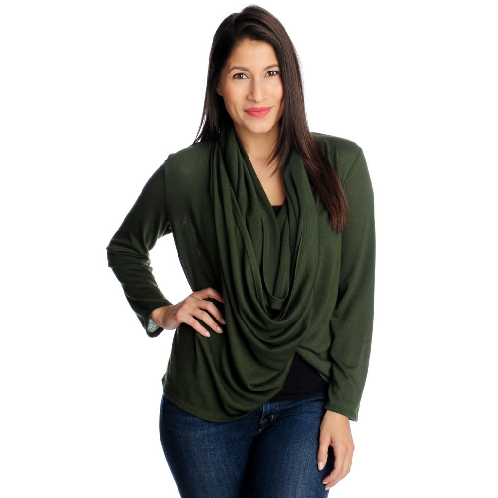 714-232 - Kate & Mallory Fine Gauge Knit Long Sleeved Infinity Wrap Cardigan Sweater