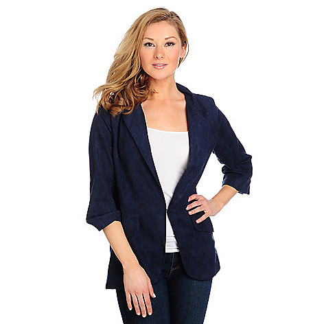 714-233 - Kate & Mallory Ultra Suede Cuffed Sleeve Hook Closure Blazer