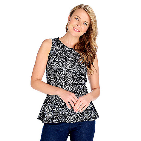 714-244 - Kate & Mallory Fully Lined Lace Sleeveless Zip Back Peplum Top