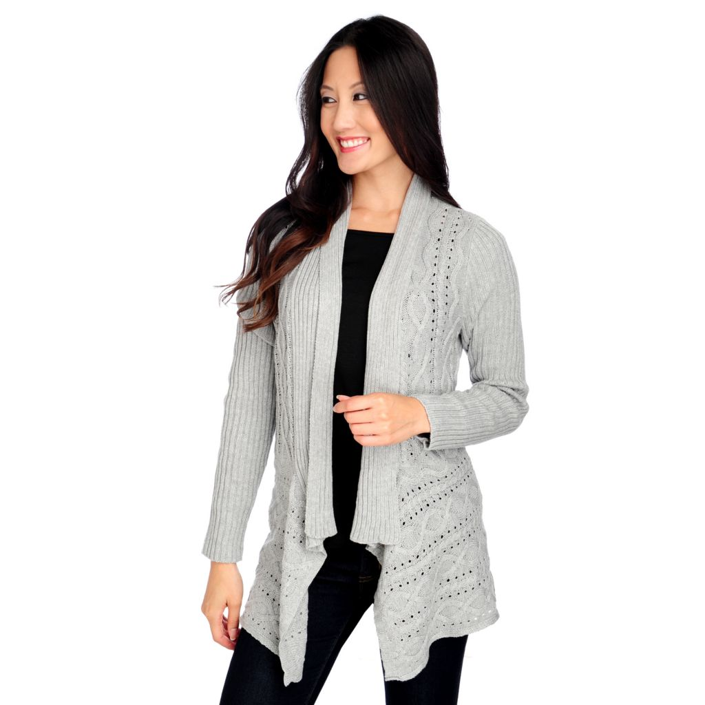 714-251 - OSO Casuals Cable Knit Long Sleeved Open Front Cardigan Sweater