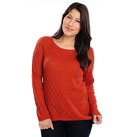 714-252 - Kate & Mallory® Honeycomb Knit Raglan Sleeved Hi-Lo Hem Tunic Sweater
