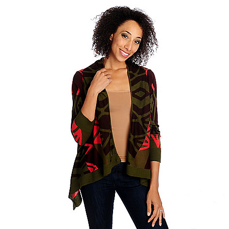 714-262 - One World Intarsia Knit Long Sleeved Open Front Cascade Cardigan