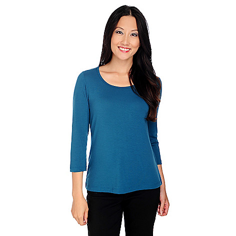 714-264 - OSO Casuals Stretch Knit 3/4 Sleeved Scoop Neck Top