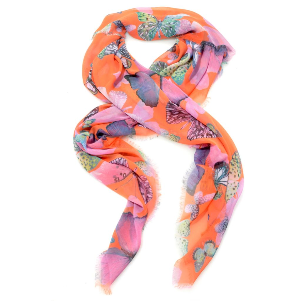 "714-270 - Collection XIIX Multi Color Butterfly Digital Print 48"" Square Scarf"