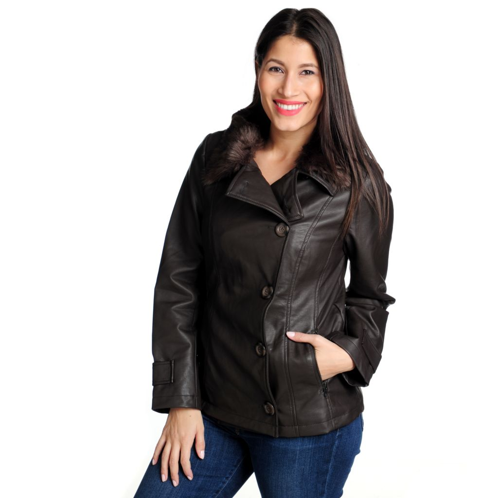 714-274 - KC Collections Faux Leather & Detachable Faux Fur Collar Button-up Jacket