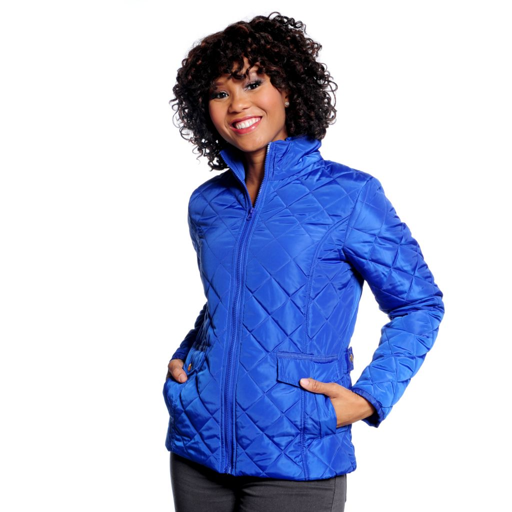 714-277 - KC Collections Diamond Quilted Long Sleeved Zip Front Jacket