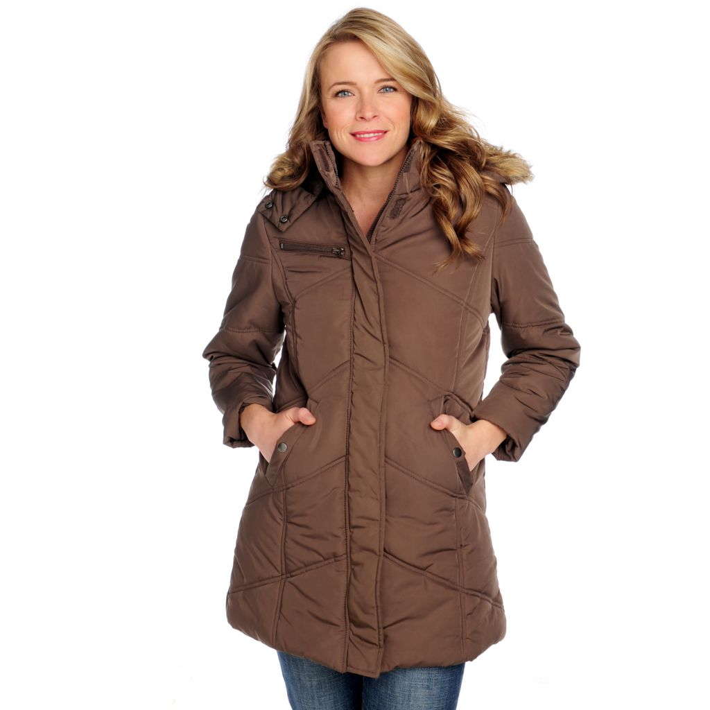 714-279 - KC Collections Quilted Puffer Detachable Faux Fur Hood Mid-Length Jacket