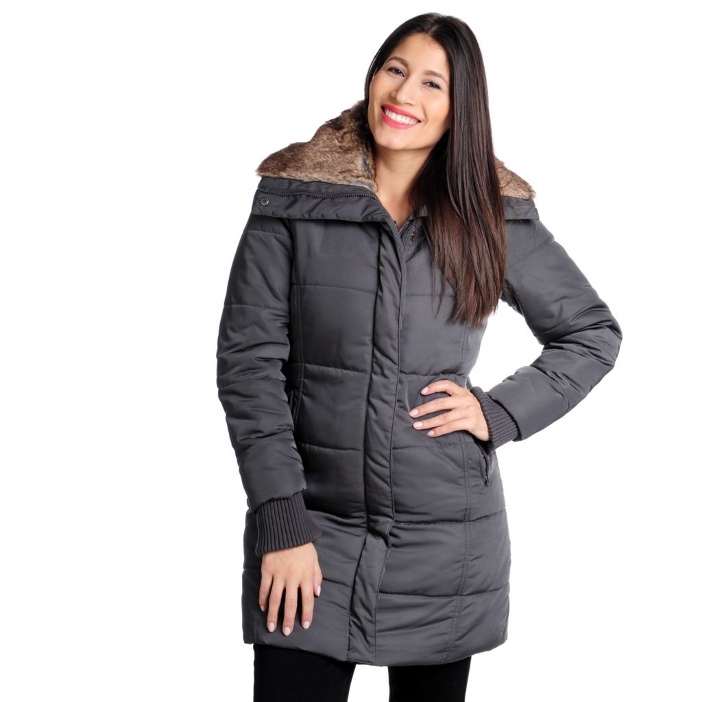 714-280 - High Line Quilted Puffer Faux Fur Collar Mid-Length Jacket