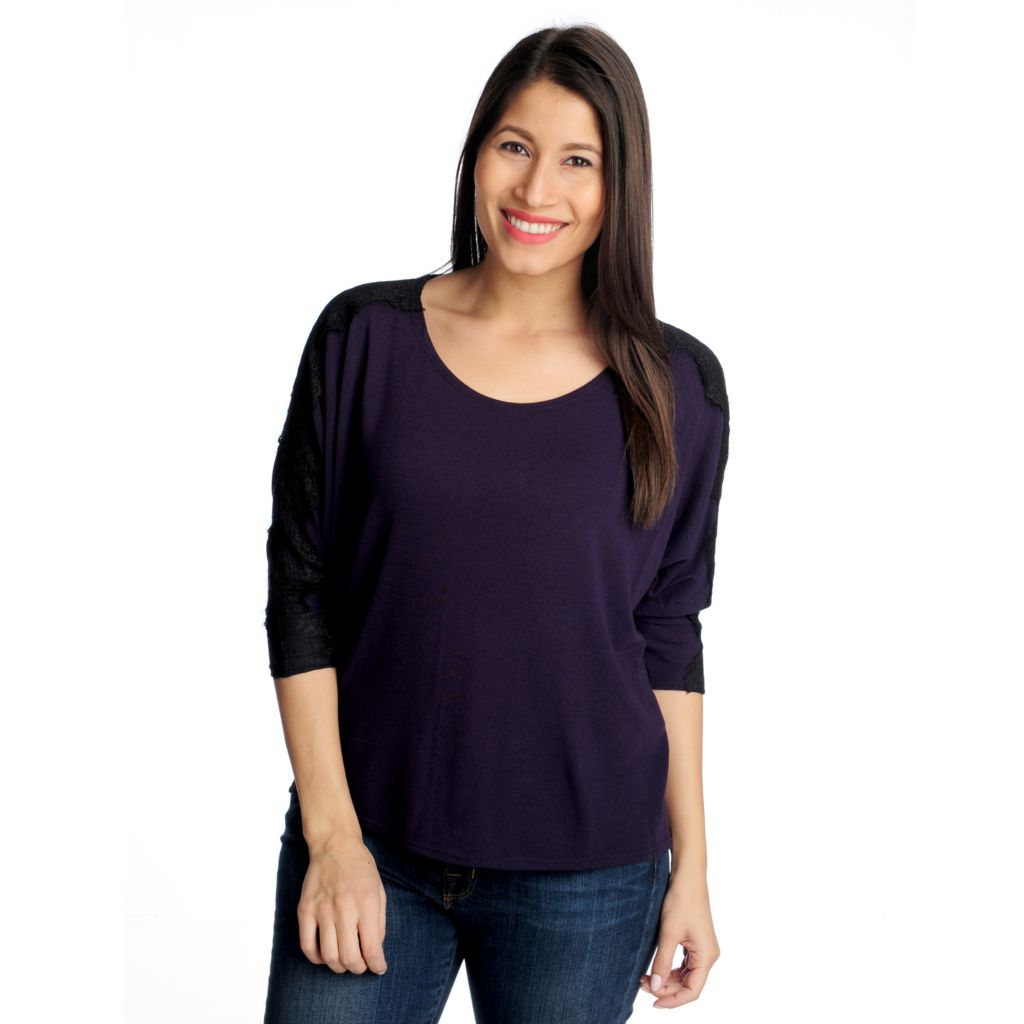 714-314 - Kate & Mallory Sweater Knit Dolman Sleeved Lace Detail Top