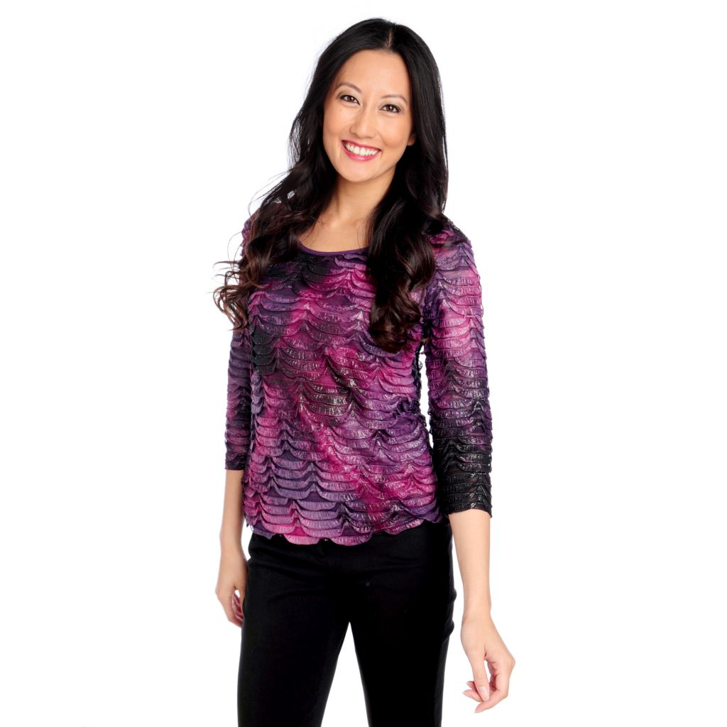 714-320 - Glitterscape Stretch Knit 3/4 Sleeved Shimmer Eyelash Top