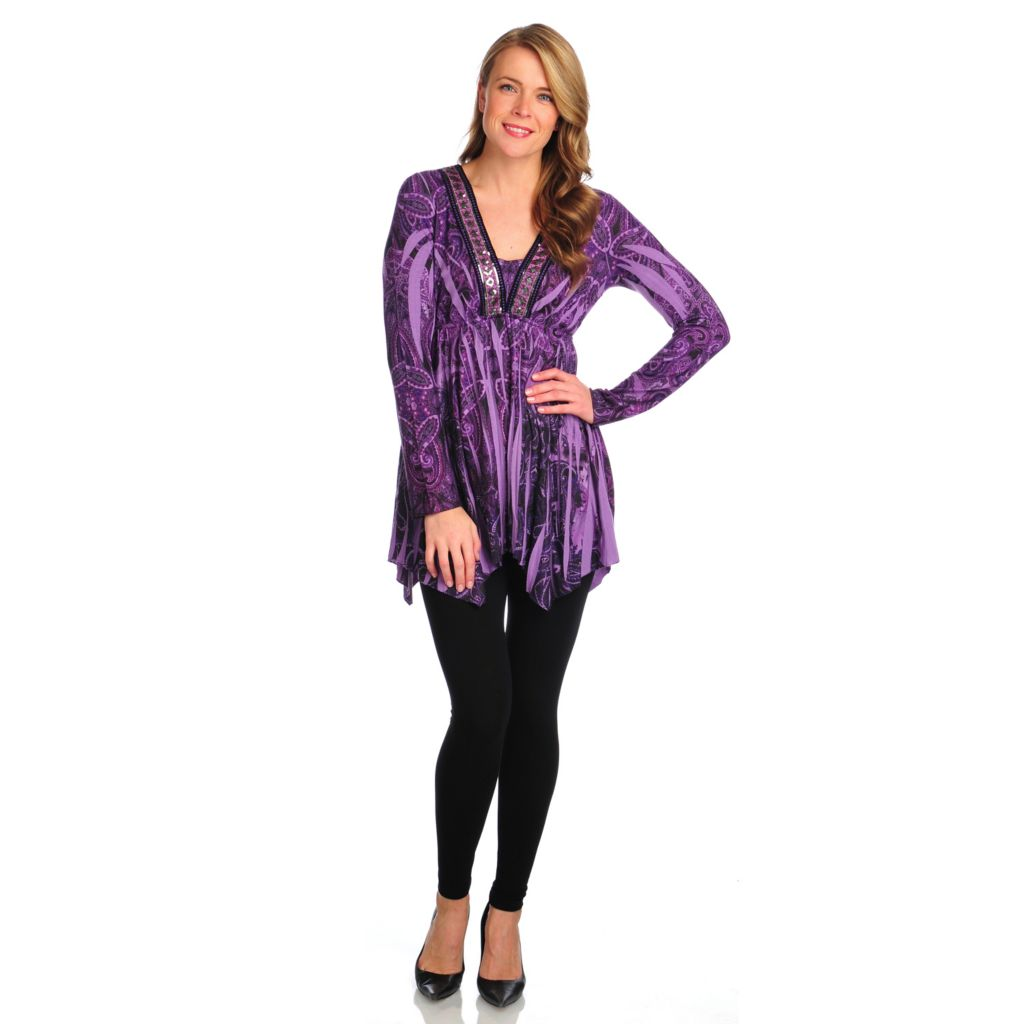 714-325 - One World Sweater Knit Long Sleeved Embellished Tunic & Leggings Set
