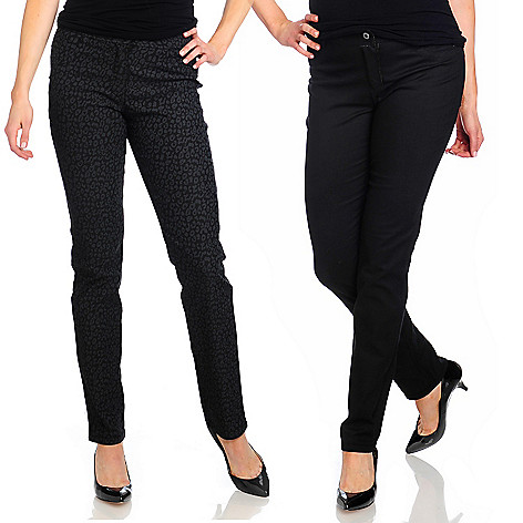 714-329 - OSO Casuals™ Stretch Twill Animal Print Reversible Slim Leg Pants