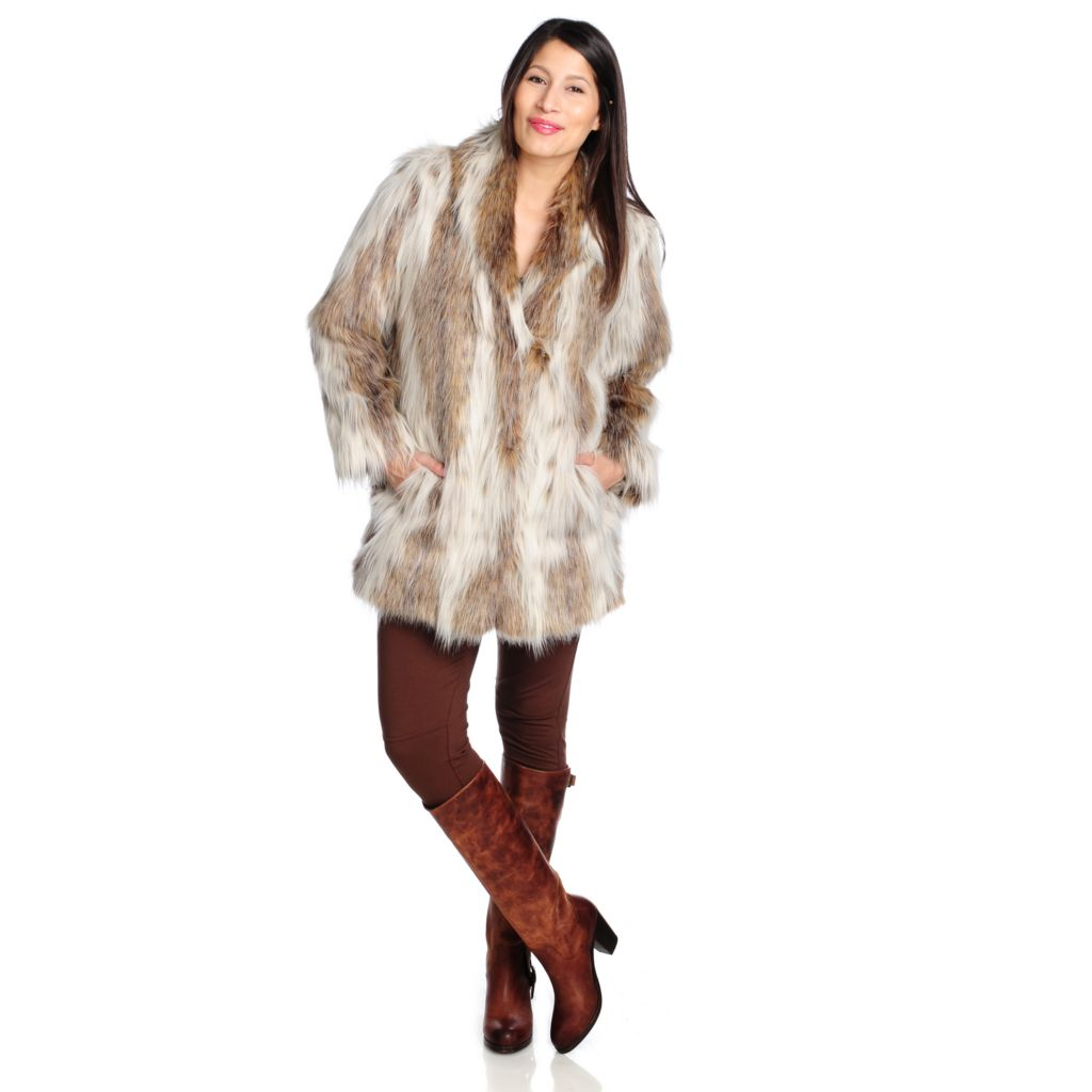 714-331 - Donna Salyers' Fabulous-Furs Faux Fur Shawl Collar Mid-Length Coat