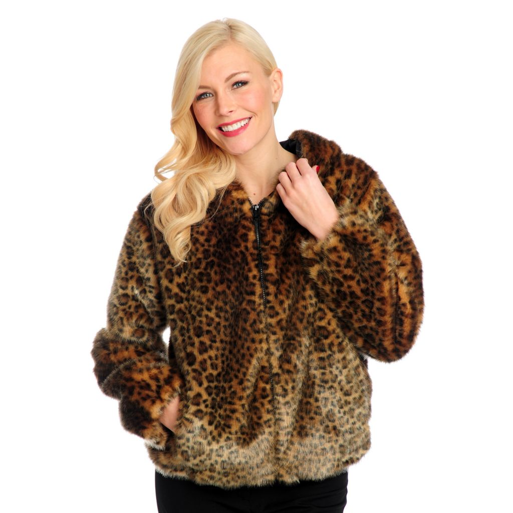 714-333 - Donna Salyers' Fabulous-Furs Faux Fur Zipper Front Hooded Parka