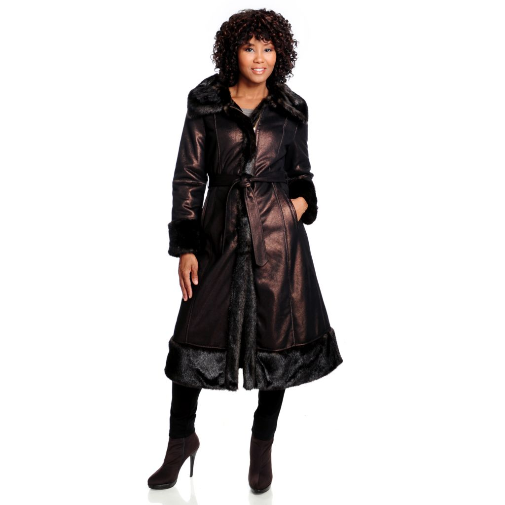 714-335 - Donna Salyers' Fabulous-Furs Faux Fur Trim Shimmer Storm Coat w/ Belt