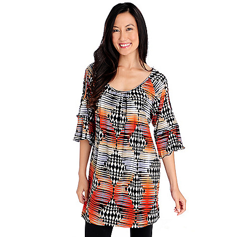 714-337 - Kate & Mallory Stretch Knit 3/4 Sleeved Cold Shoulder Printed Tunic