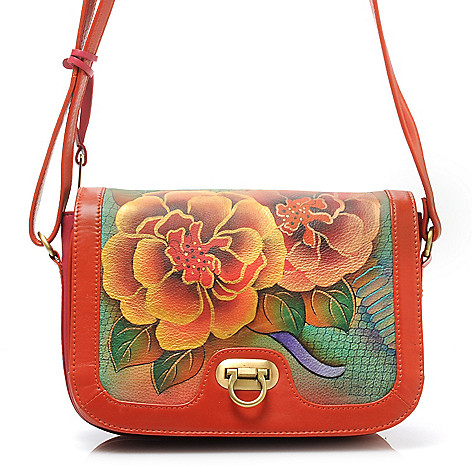 714-344 - Anuschka Hand-Painted Leather Flap Over Accordion Shoulder or Cross Body Bag