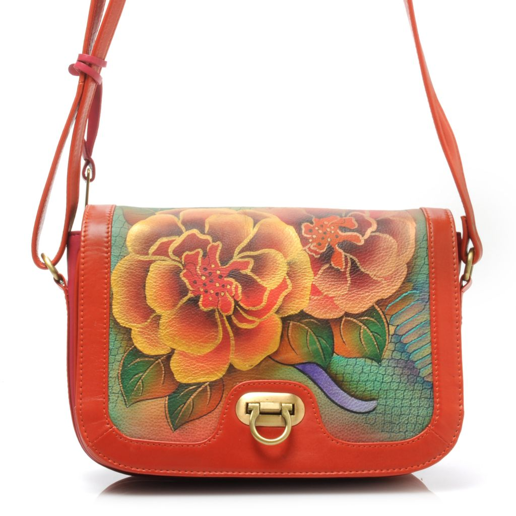 714-344 - Anuschka Hand-Painted Leather Flap-over Accordion Shoulder or Cross Body Bag
