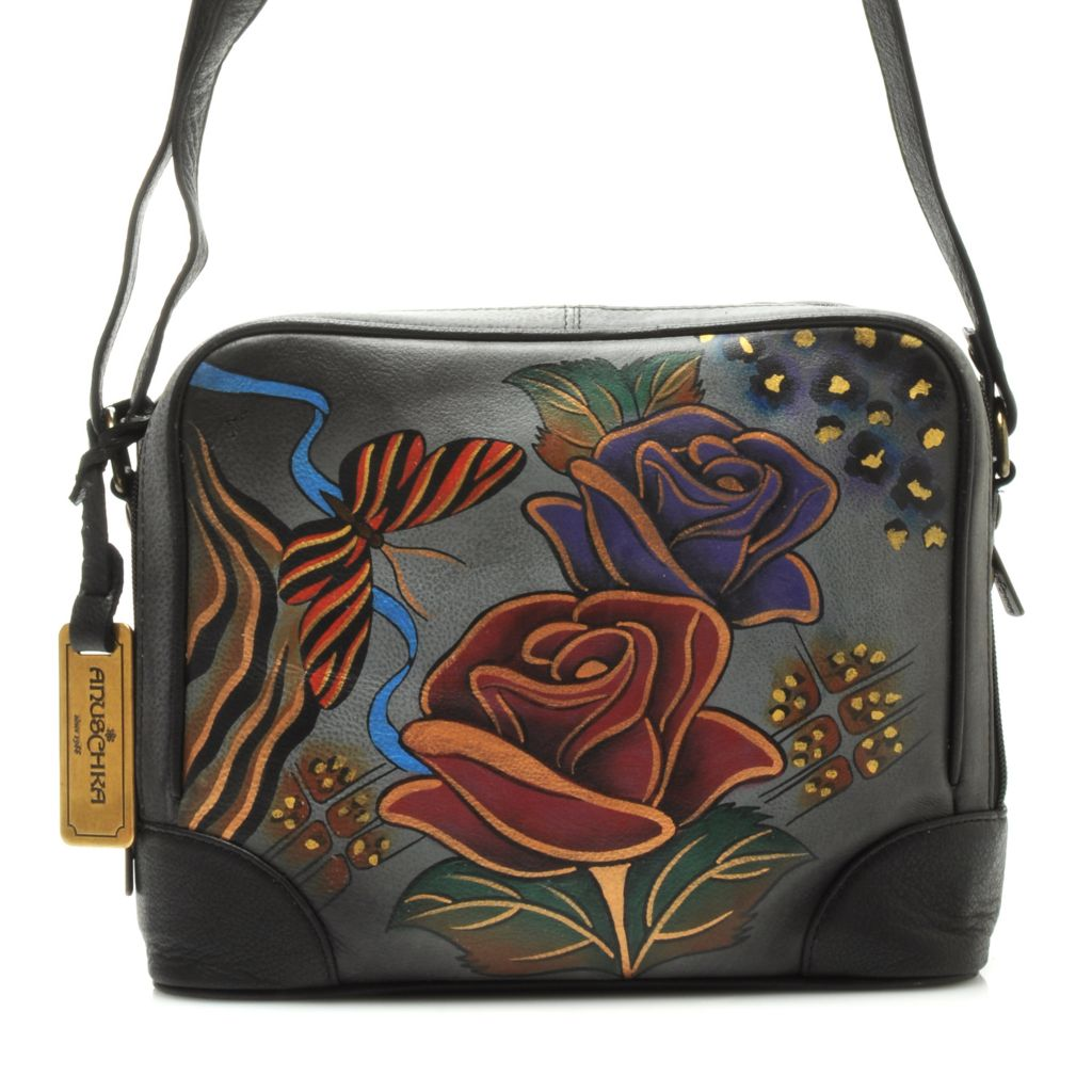 714-347 - Anuschka Hand-Painted Leather Zip Around Organizer Cross Body Bag