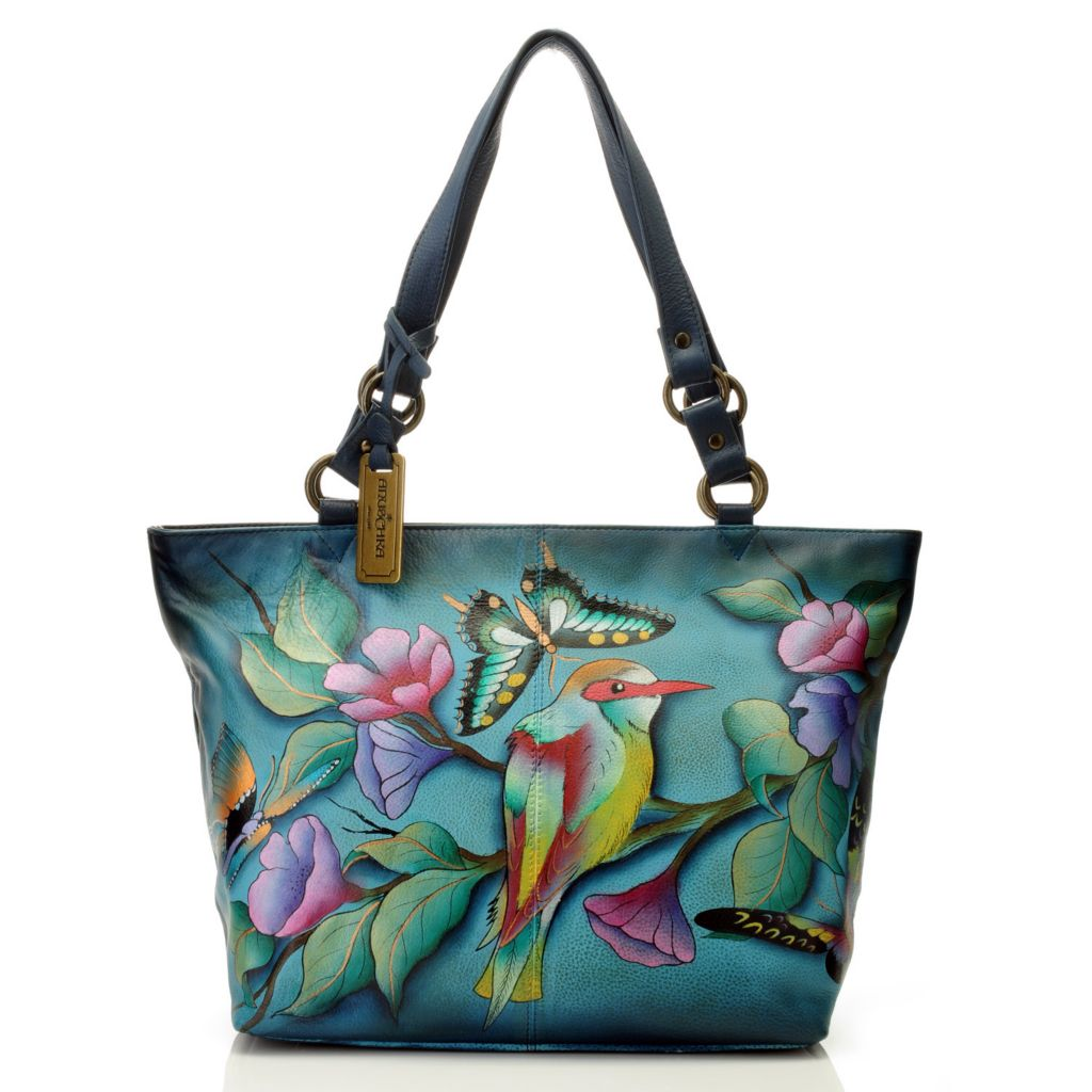 714-349 - Anuschka Hand-Painted Leather Double Handle Zip Top Tote Bag
