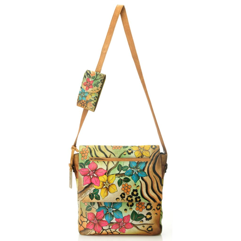 714-350 - Anuschka Hand-Painted Leather Flap-over Cross Body Bag w/ Cell Phone Pocket