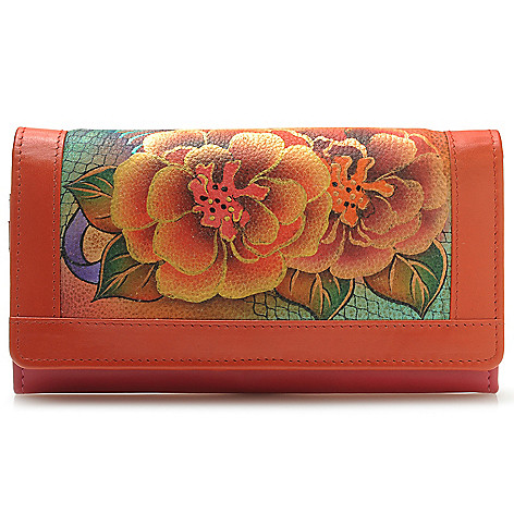 714-351 - Anuschka Hand-Painted Leather Flap-over Accordion Wallet