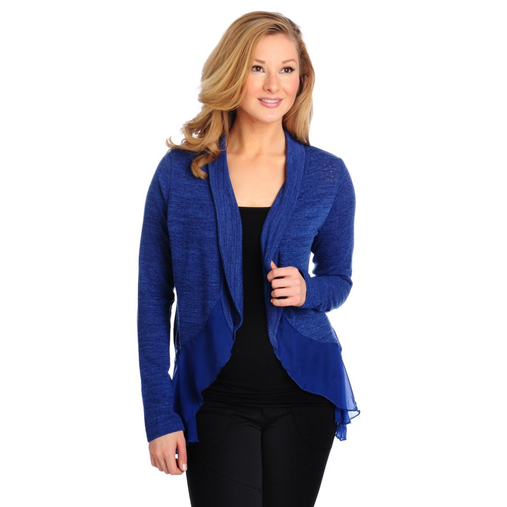 714-356 - One World Pointelle Knit Long Sleeved Chiffon Trim Shawl Cardigan