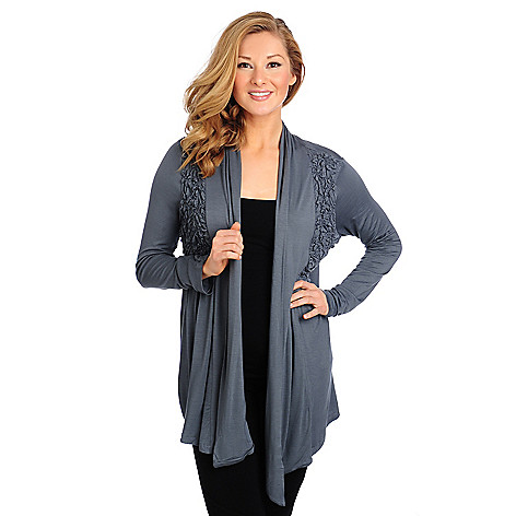 714-358 - One World Stretch Knit Long Sleeved Ruched Detail Cardigan Sweater