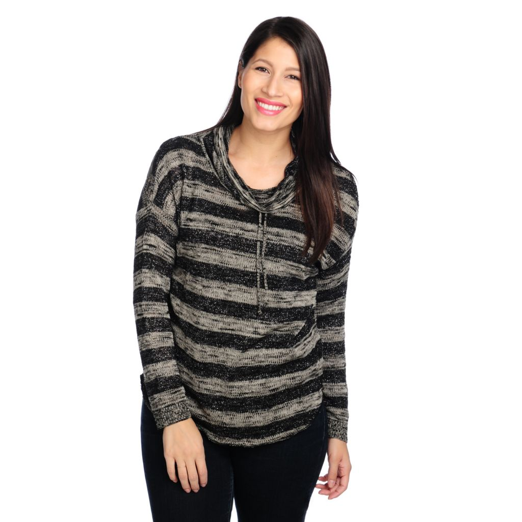 714-367 - One World Sweater Knit Open Knit Back Metallic Striped Cowl Neck Top