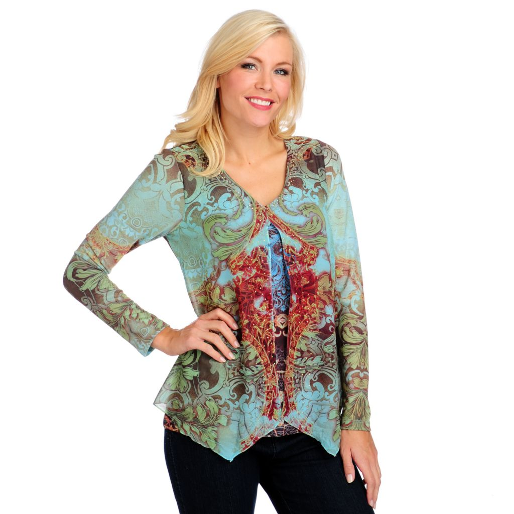 714-368 - One World Sweater Knit Chiffon Overlay Long Sleeved V-Neck Top