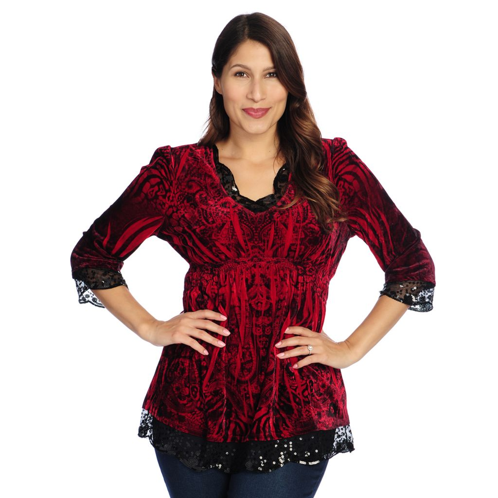 714-369 - One World Printed Velvet 3/4 Sleeve Sequin Trimmed Empire Waist Top