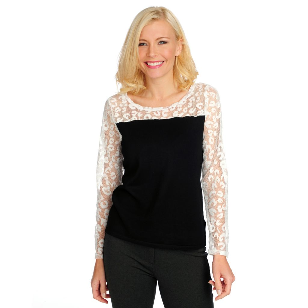 714-371 - Kate & Mallory Fine Gauge Knit Lace Combo Long Sleeved Top