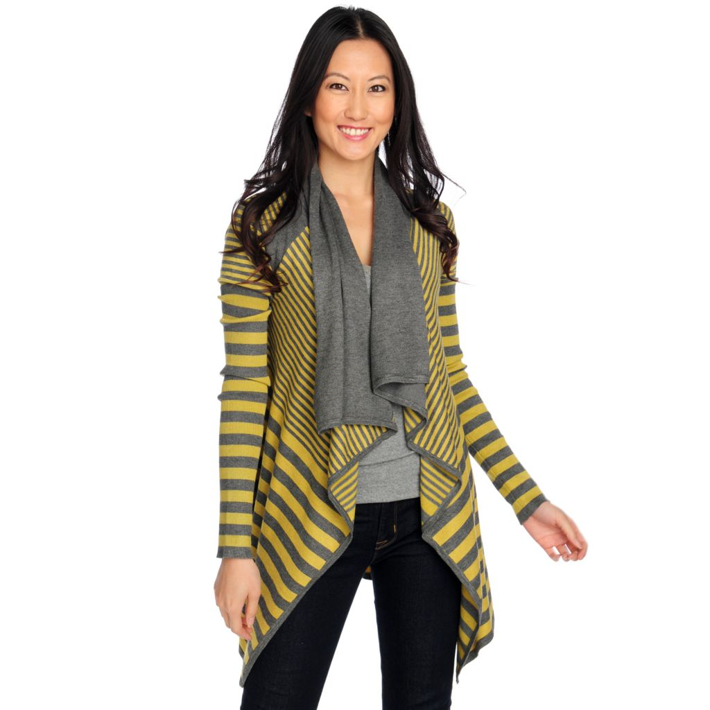 714-373 - Kate & Mallory Fine Gauge Knit Long Sleeved Drape Front Cardigan Sweater