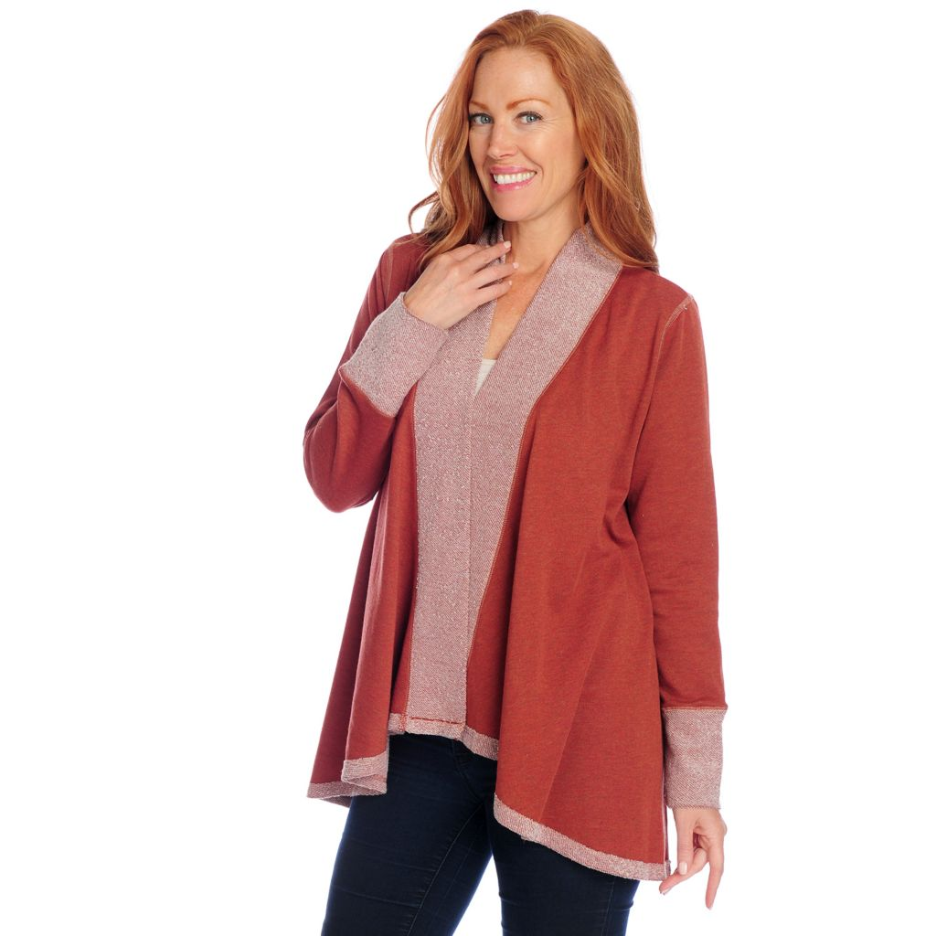 714-376 - One World French Terry Long Sleeved Open Front Cardigan Sweater
