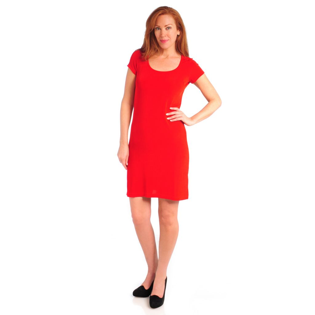 714-381 - Affinity Travel Knits™ Short Sleeved Knee Length Dress