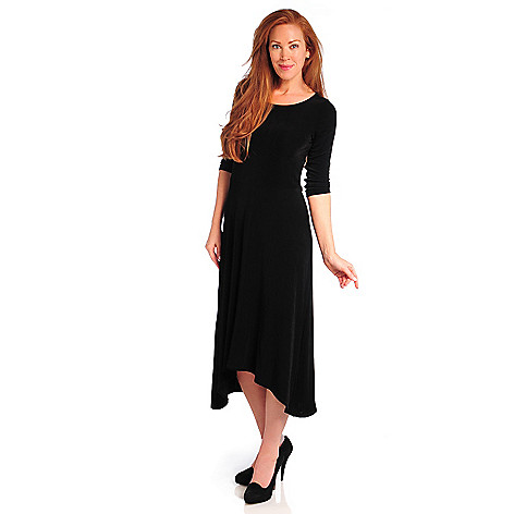 714-382 - Affinity for Knits™ 3/4 Sleeved Round Neck Hi-Lo Maxi Dress